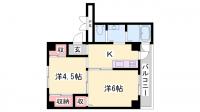 ビレッジハウス粟生3号棟[406号室]の間取り