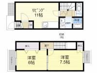 愛知県あま市新居屋上権現の賃貸アパートの間取り
