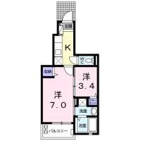 埼玉県熊谷市美土里町2丁目の賃貸アパートの間取り