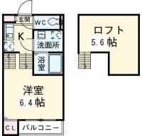 愛知県名古屋市港区津金1丁目の賃貸アパートの間取り