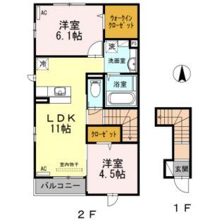 東京都青梅市末広町2丁目の賃貸アパートの間取り