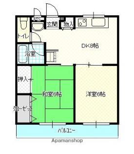 徳島県阿波市吉野町五条字北原の賃貸マンションの間取り