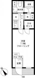 東京都新宿区中町の賃貸マンションの間取り