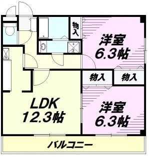 東京都あきる野市秋留2丁目の賃貸マンションの間取り