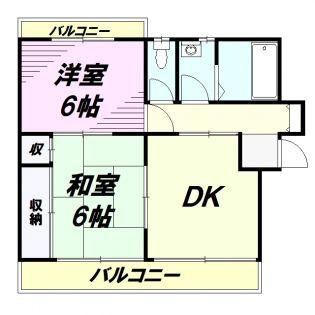 東京都八王子市西寺方町の賃貸アパートの間取り