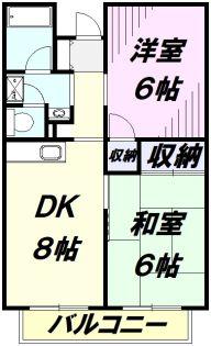グリーンコーポ金田13号棟[2階]の間取り