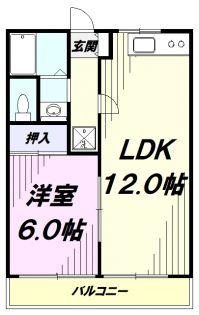東京都あきる野市二宮東1丁目の賃貸マンションの間取り