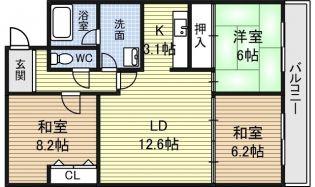 愛知県名古屋市西区児玉1丁目の賃貸マンションの間取り