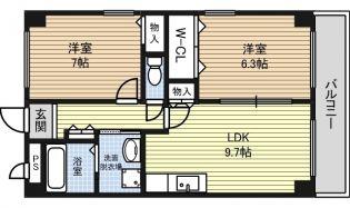 愛知県名古屋市北区西味鋺3丁目の賃貸マンションの間取り