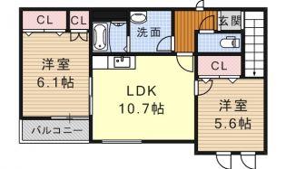 愛知県名古屋市中川区丸米町1丁目の賃貸アパートの間取り
