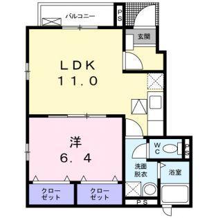 東京都新宿区四谷三栄町の賃貸アパートの間取り