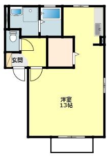 愛知県岡崎市中町字東丸根の賃貸アパートの間取り