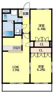 愛知県みよし市天王台の賃貸アパートの間取り