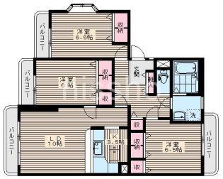 824−レーヴ富士見台[104号室]の間取り