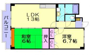 福岡県大野城市山田3丁目の賃貸マンションの間取り