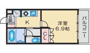 大阪府茨木市島1丁目の賃貸マンションの間取り