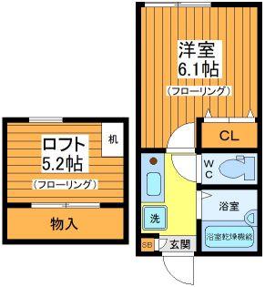 東京都世田谷区代沢1丁目の賃貸アパートの間取り