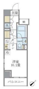 東京都中央区新富1丁目の賃貸マンションの間取り