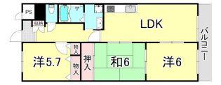 ローヤルシャトー立花[4階]の間取り