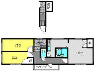 4丁目共同住宅[201号室]の間取り